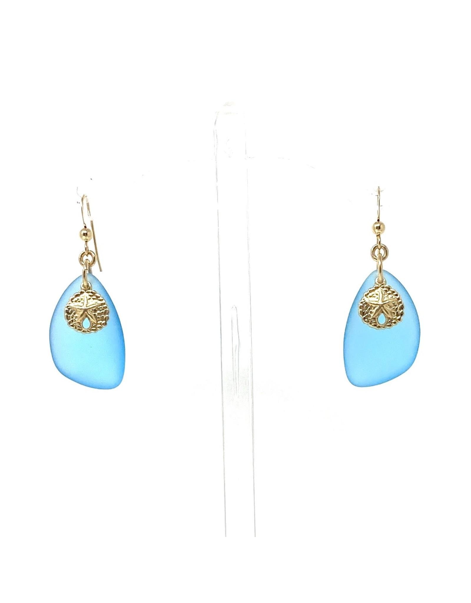 Aqua Sea Glass & GF Sand Dollar Earrings