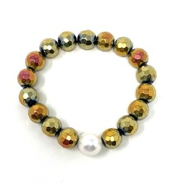 Sunset Hematite & FWP Bracelet