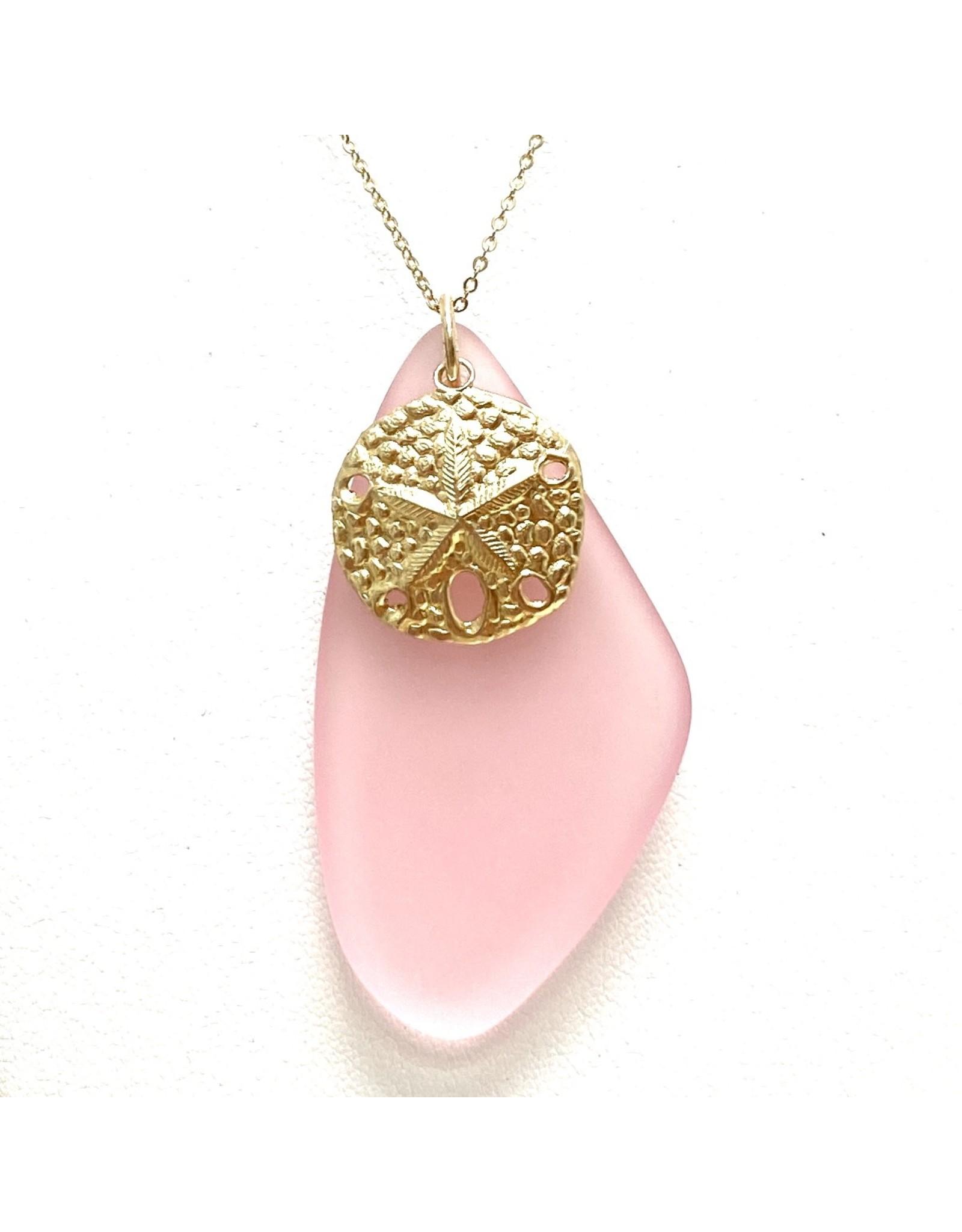 Pink Sea Glass & Sand Dollar, Gold