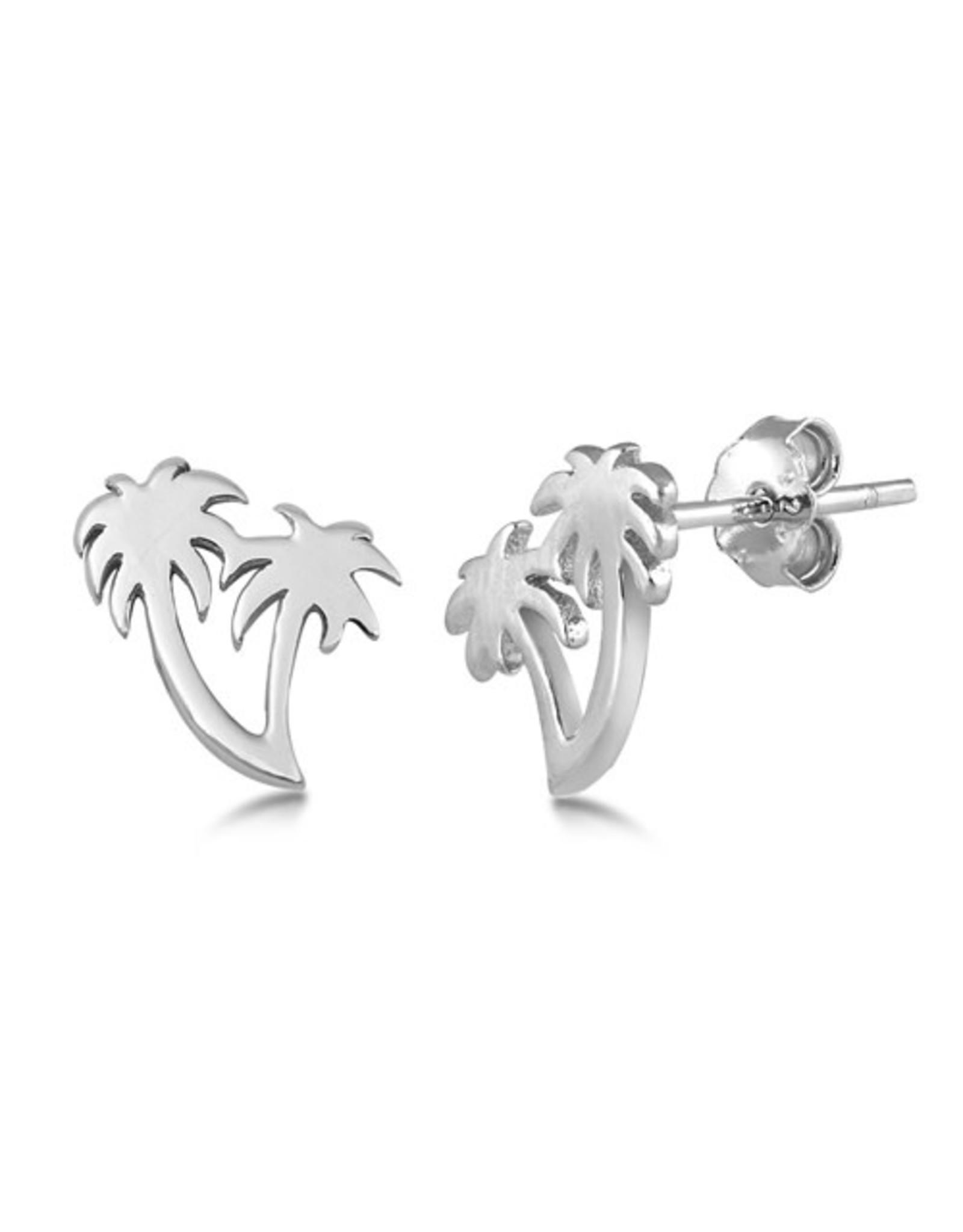 Silver Palm Tree Stud Earring