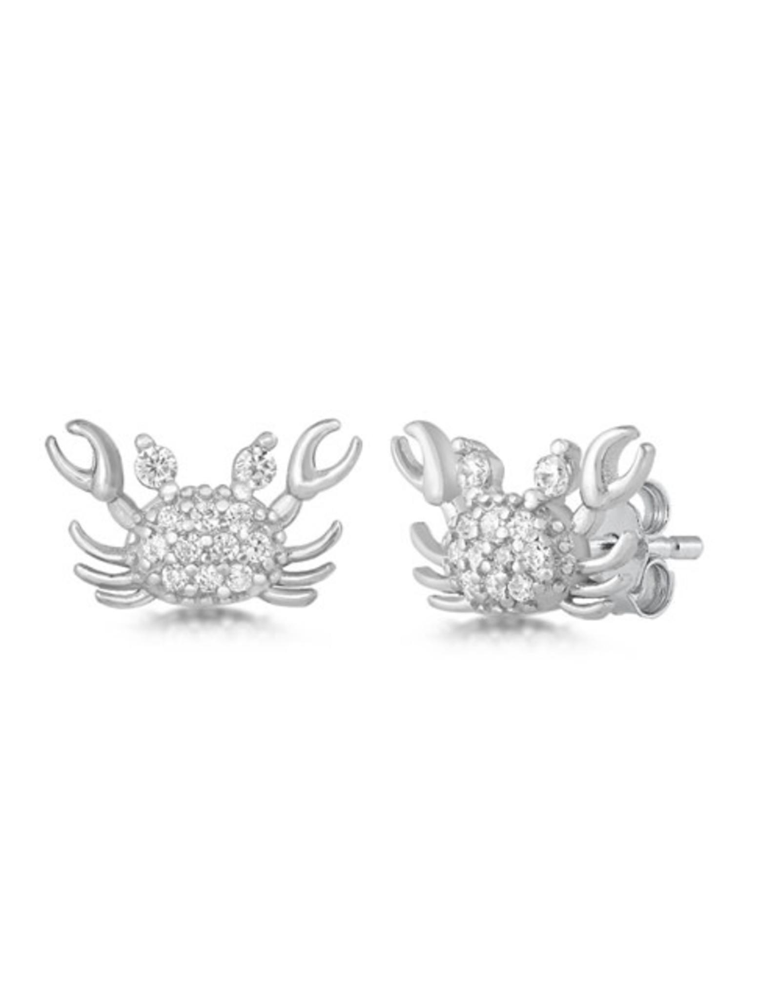 CZ Silver Crab Stud Earring