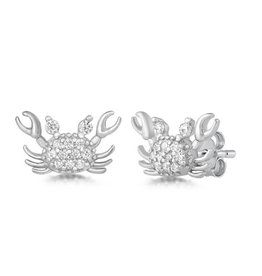 CZ Silver Crab Stud Earring