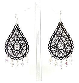 Silver Filigree Crystal Drop Earrings