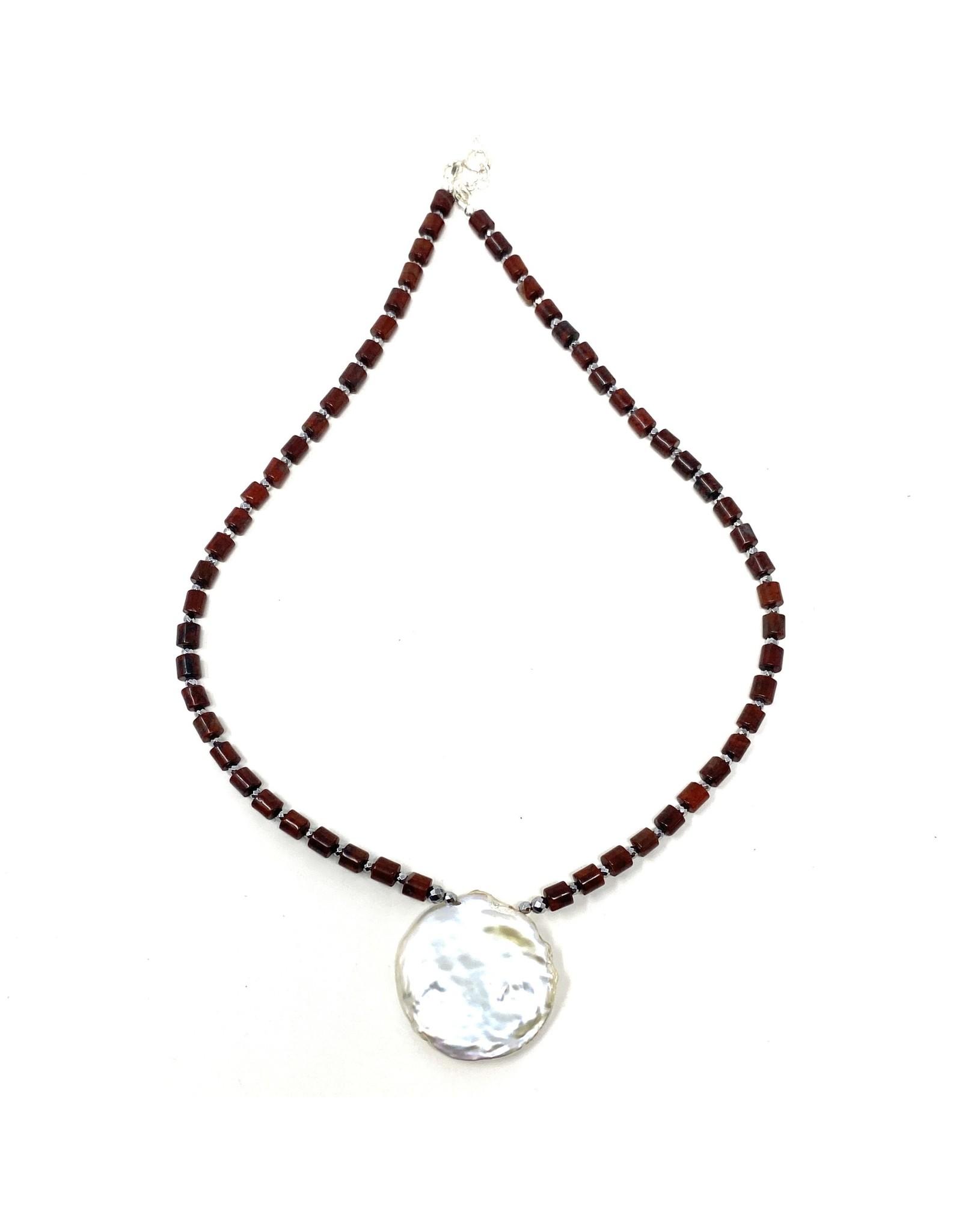 Round Keshi Pearl & Brec. Jasper Necklace