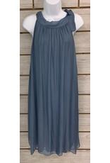 Steel Blue Silk Halter Tie Dress