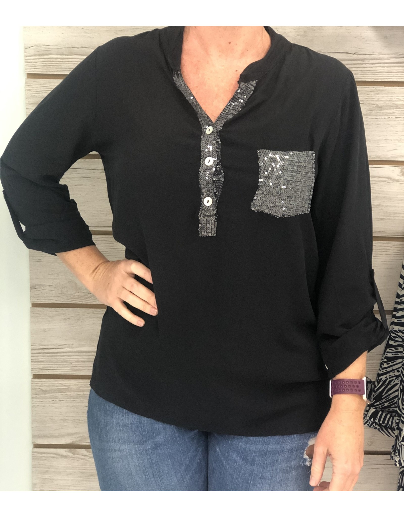 Black Sequin Pocket Top