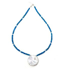 Round Keshi Pearl & Magnesite Necklace