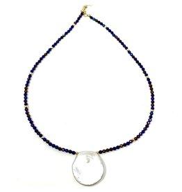 Round Keshi Pearl & Navy Hematite
