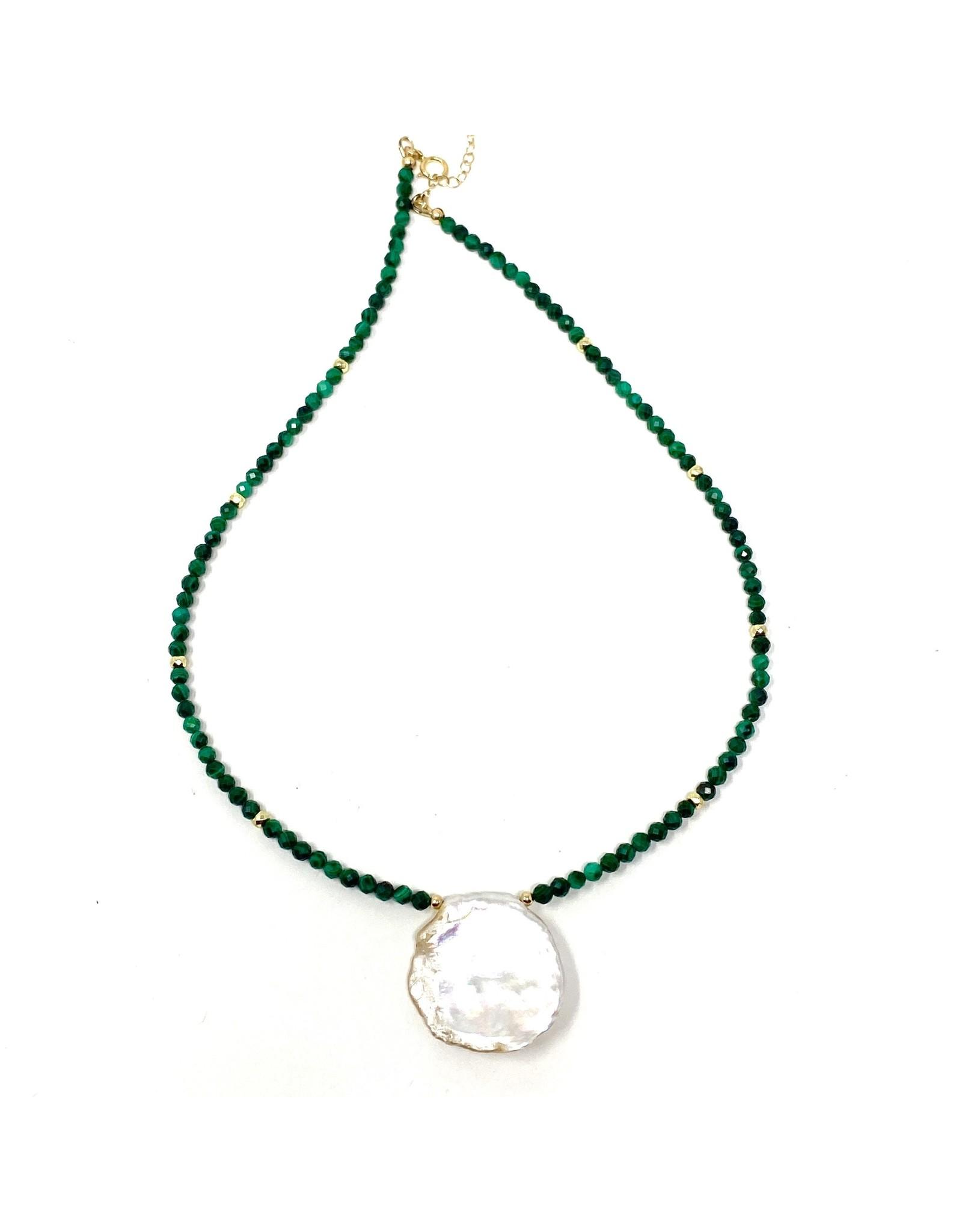 Round Keshi Pearl & Malachite Necklace