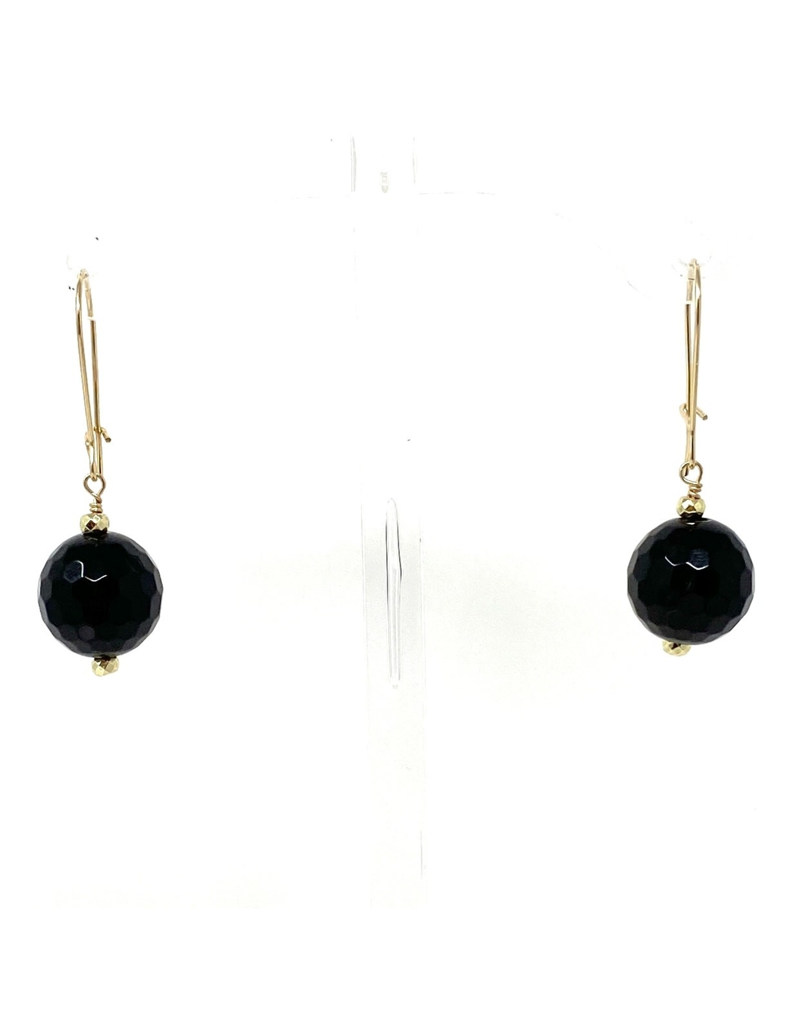 Gold Filled Large Onyx Earrings
