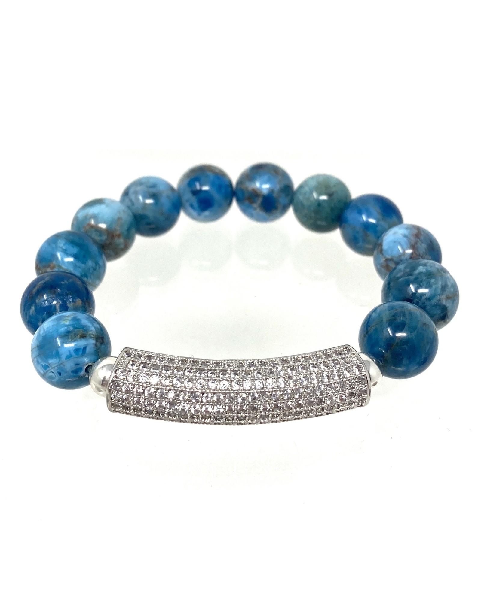 Apatite & CZ Bar Bracelet