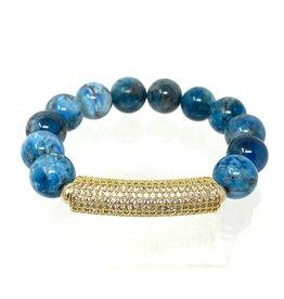 Apatite & Vermil CZ Bar Bracelet
