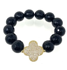 Onyx & CZ Vermil Clover Bracelet