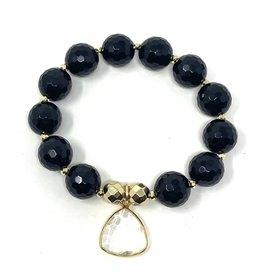 Onyx & CZ Quartz Charm Bracelet