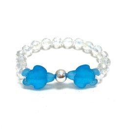 Girlz Blue Sea Glass Turtle Bracelet