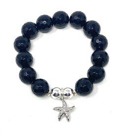 Onyx & SIlver CZ Starfish Bracelet
