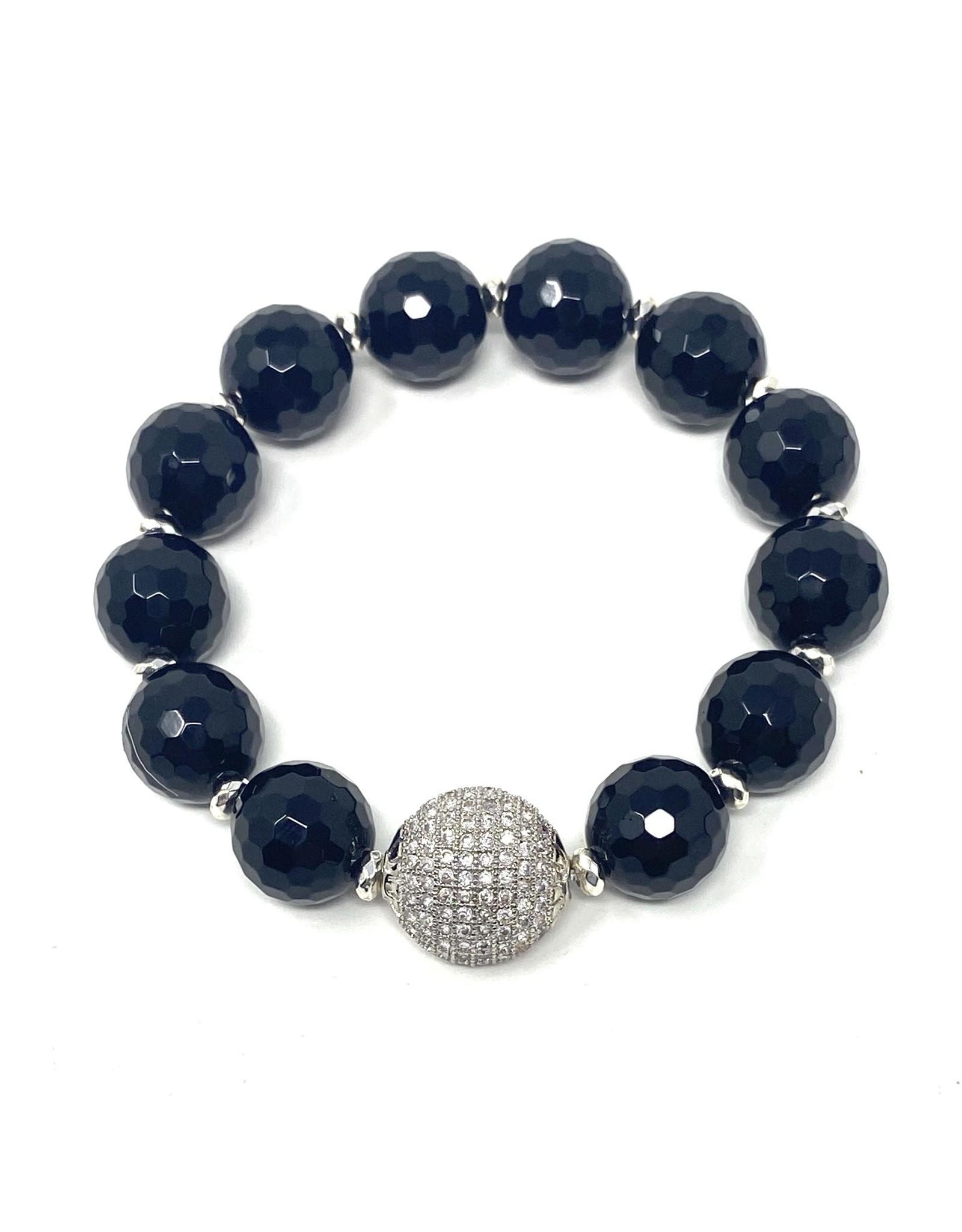 Onyx & SIlver CZ Ball Bracelet