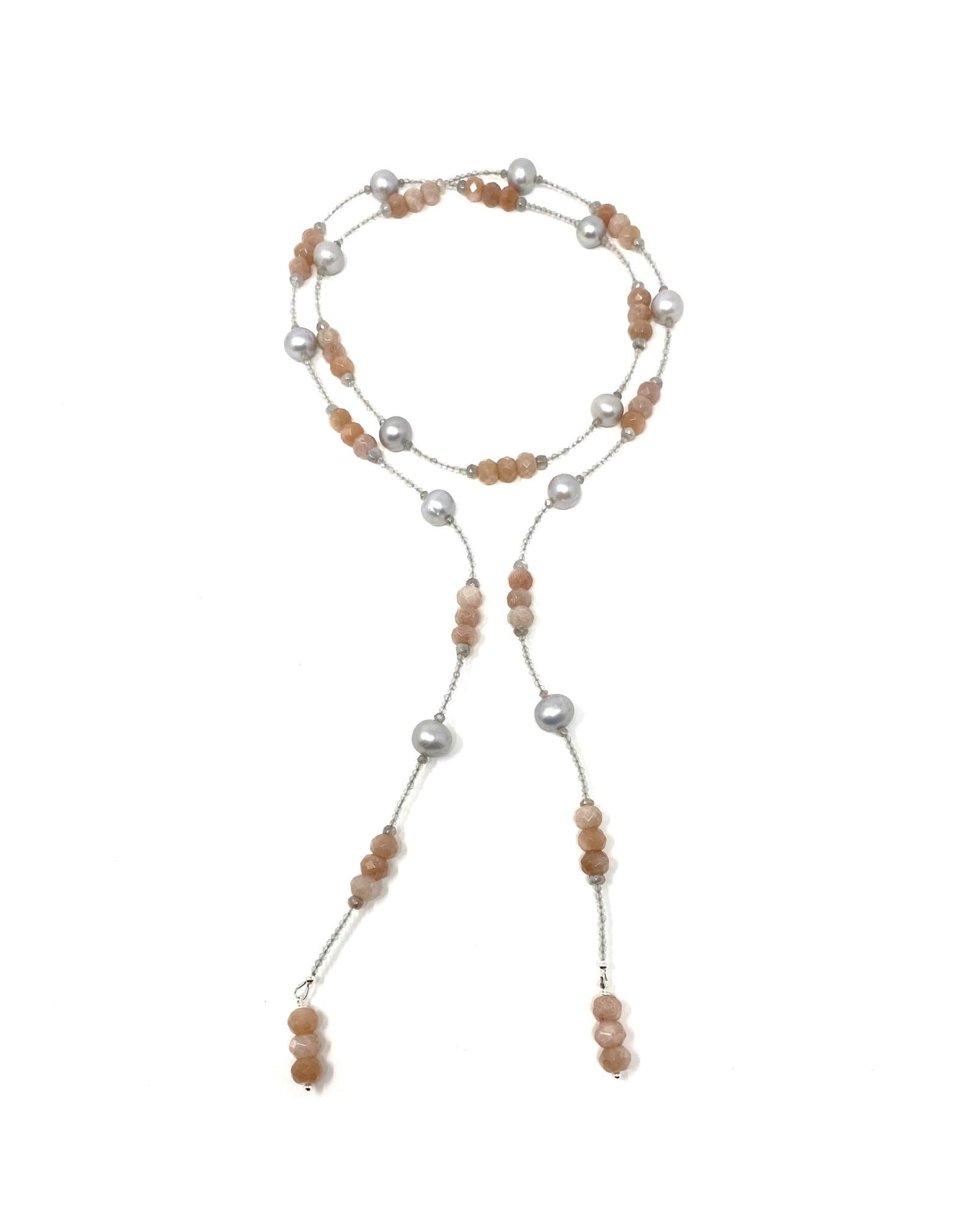 Peach Moonstone, Labradorite & Grey Pearl Lariat