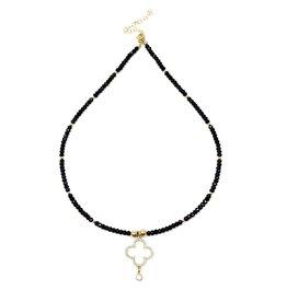 Spinel & CZ Gold Clover Necklace