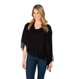Alashan Ebony Trade Wind Cotton Cashmere Fringe Topper