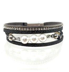 Sunrise USA Trading Grey Narrow Pearl/Crystal Bracelet