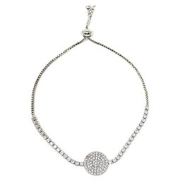 Sunrise USA Trading Silver Circle CZ Adj. Bracelet