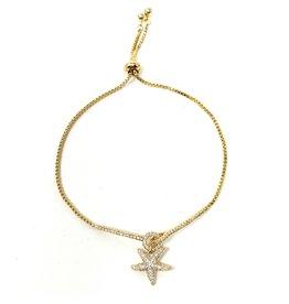 Sunrise USA Trading Gold Starfish CZ Adj. Bracelet