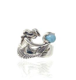 India Gems Mermaid & Larimar Ring