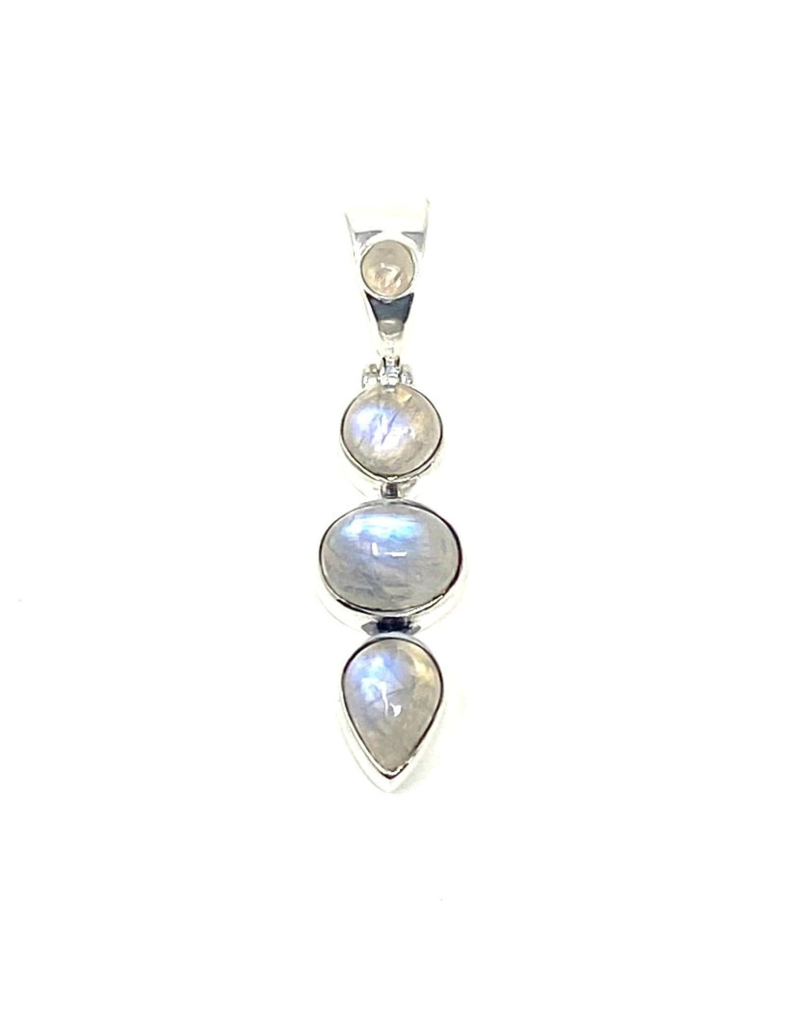 India Gems Triple Moonstone Drop Pendant