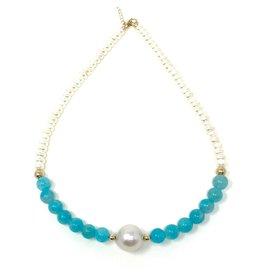 Baroque Pearl, Amazonite & Disk Pearl
