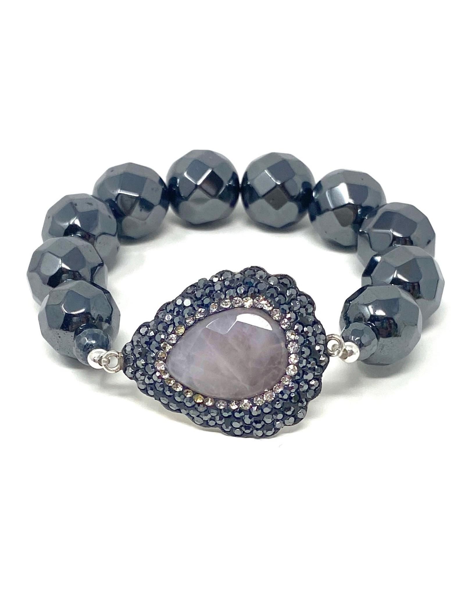 Hematite & Pave Rose Quartz Bracelet