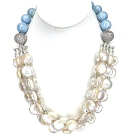 Multi Coin Pearl & Aquamarine Necklace
