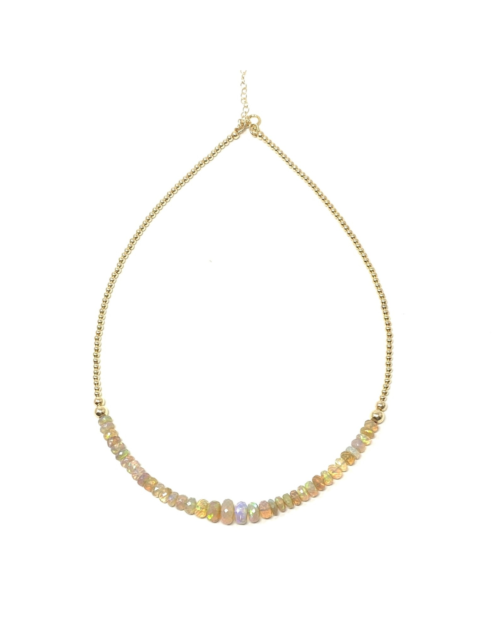 Gold Beaded Ethiopian Opal Necklace