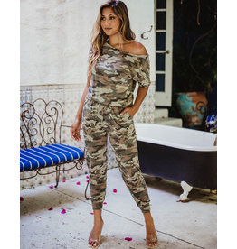 Veronica M French Terry Camo Jumpsuit
