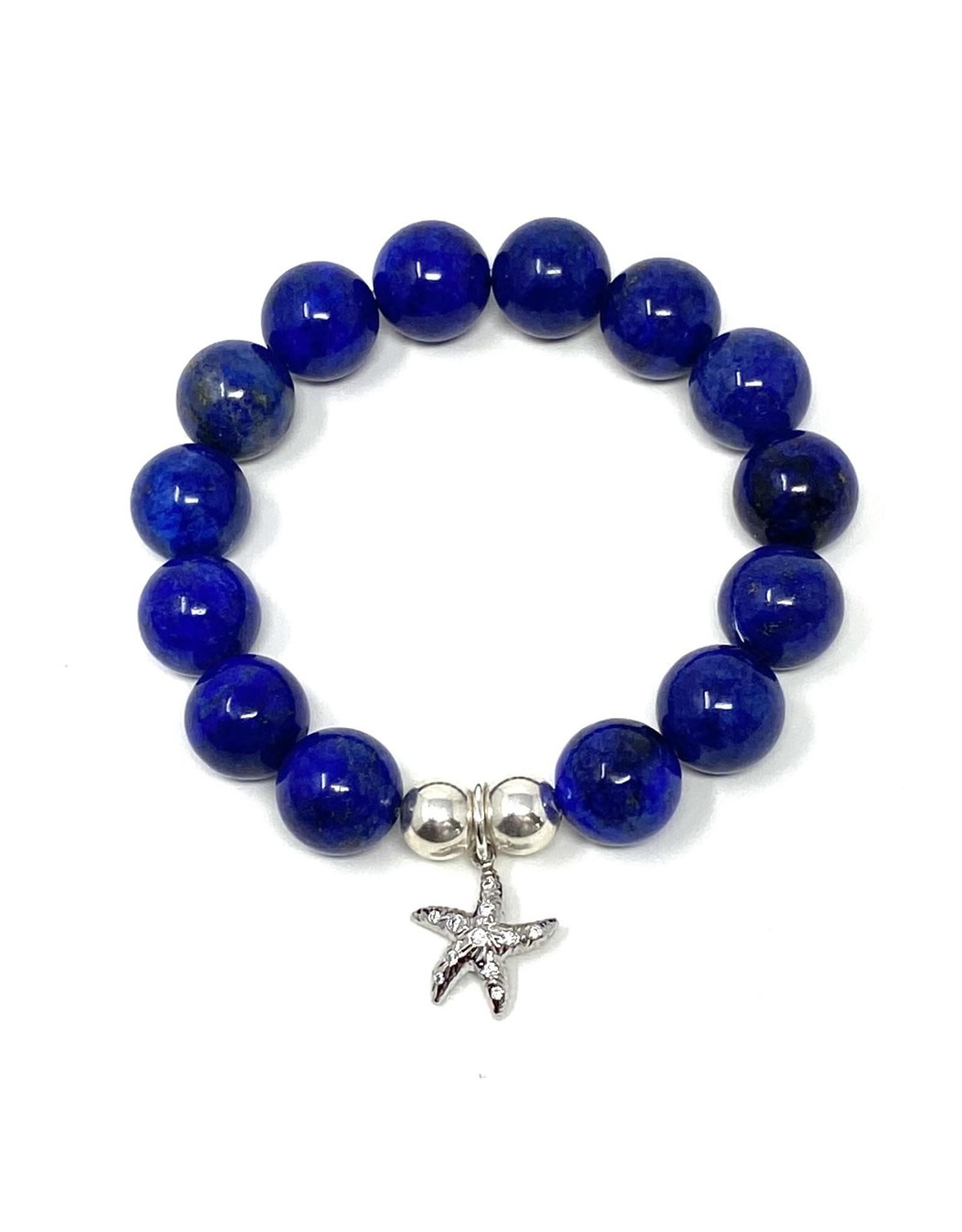 Lapis & CZ Silver Starfish Bracelet