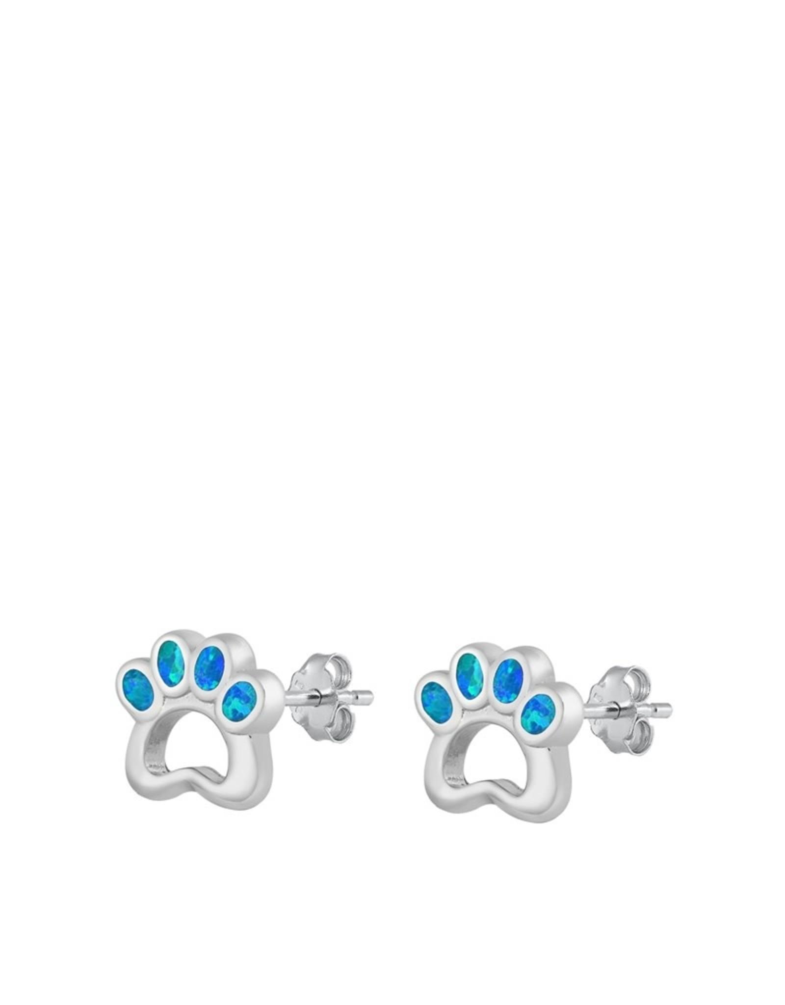 Opal Paw Print Stud Earrings