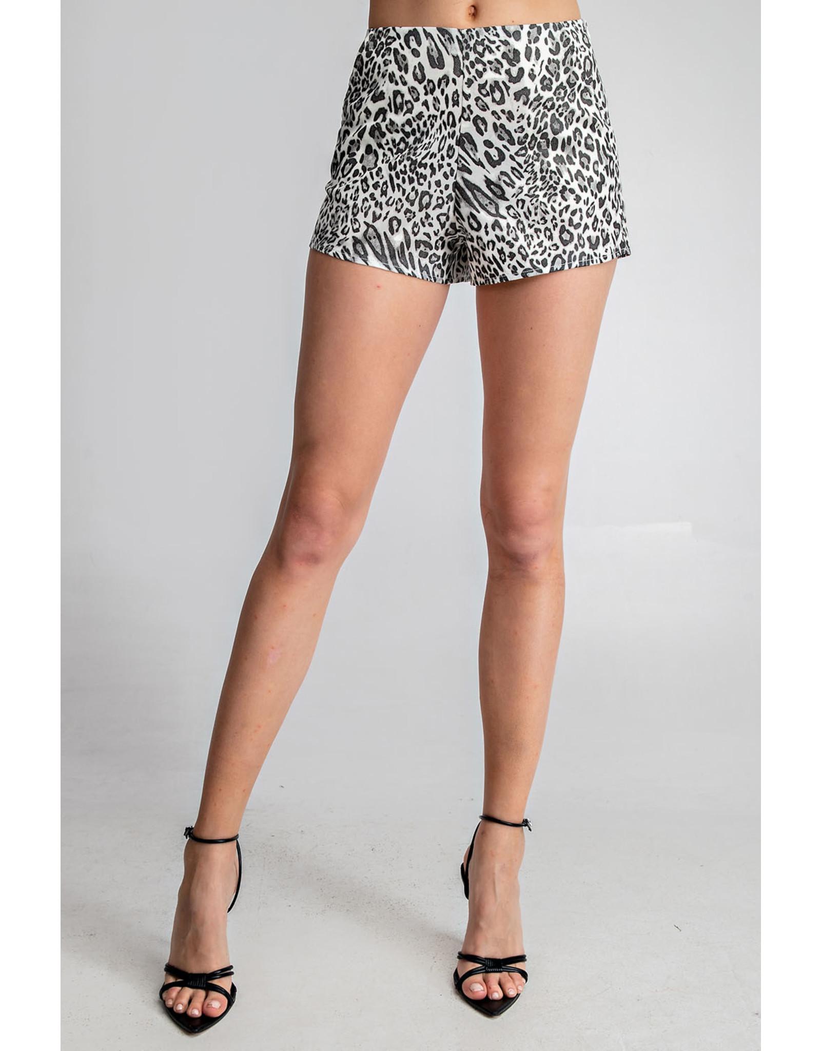 Glam White Leopard Print Shorts