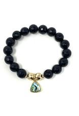 Onyx & Abalone Charm Bracelet