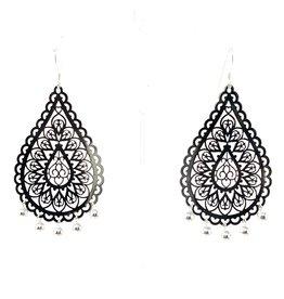 Silver Ball Filigree Drop Earrings
