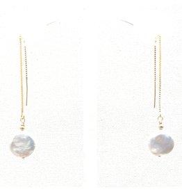 GF Coin Pearl Threader Earrings