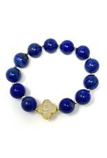 Lapis & Small Vermil Clover Bracelet