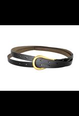 Black Double Strap Leather Belt