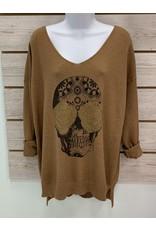 Brown Rosie Skull Sweater
