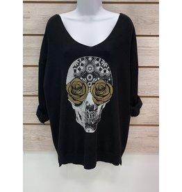 Black Rosie Skull Sweater