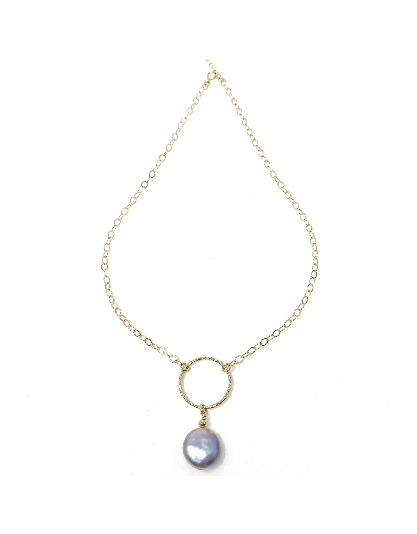 GF Large Lilac Coin Pearl Drop Necklace