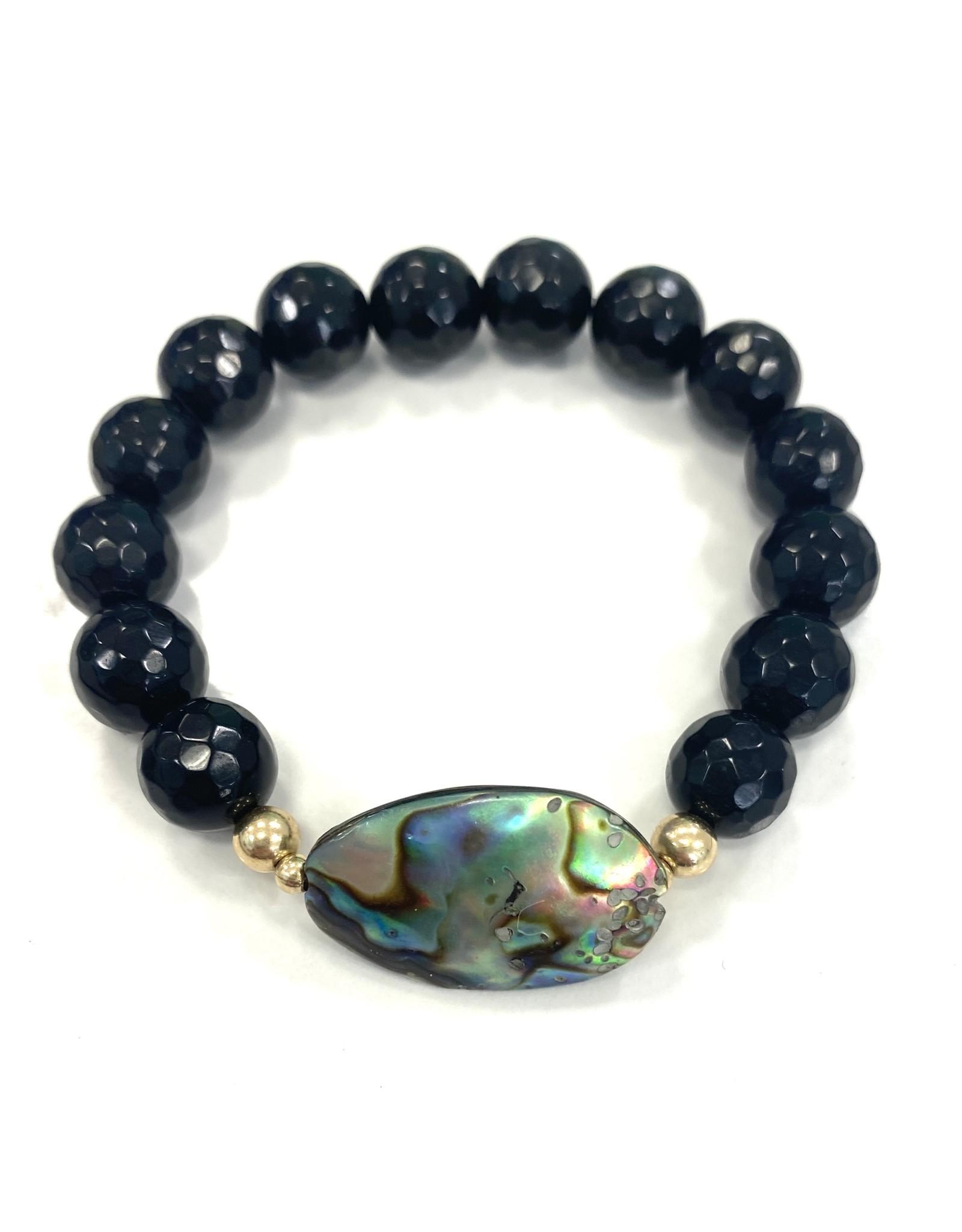 Onyx & Small Abalone Bracelet