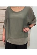 Sage Silk Sequin Layer Top