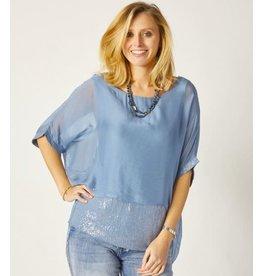 Steel Blue Silk Sequin Layer Top