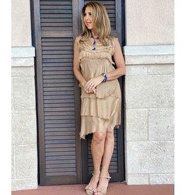 Gold Silk Flutter Dress
