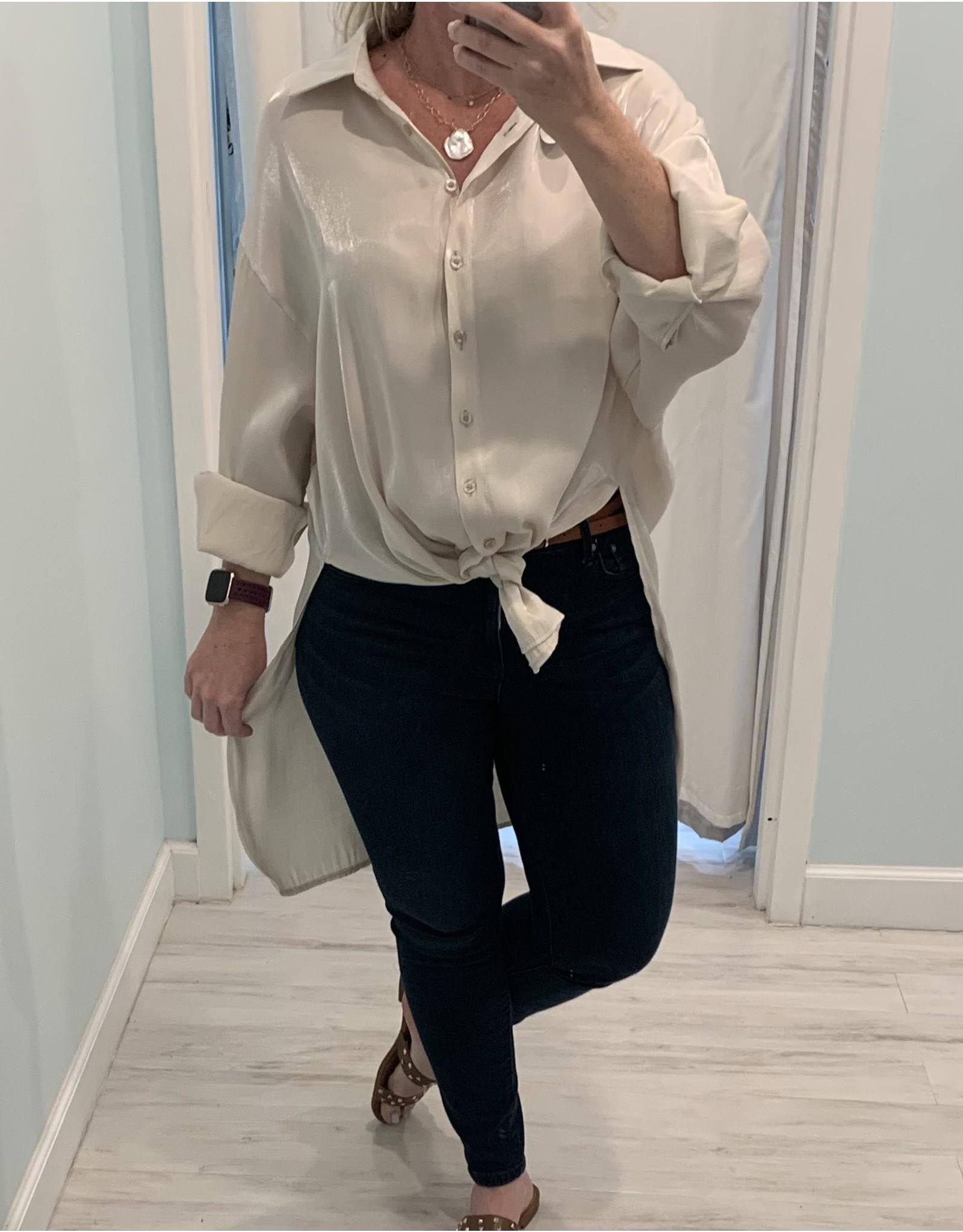 Champagne Shimmer Hi-Low Shirt